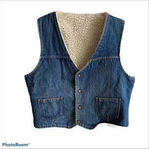 Vintage blue denim cream shearling denim vest